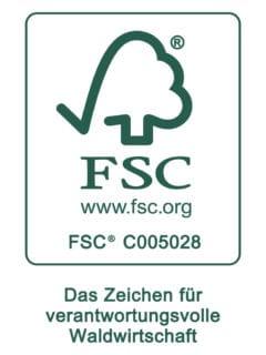 Logo FSC als Zeichen für verantwortungsvolle Waldwirtschaft