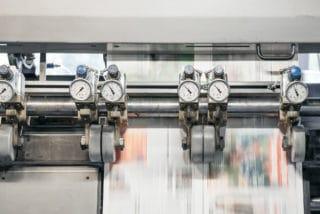 Zeitungsdruckmaschine mit Ventilen von Stern'sche Druckerei in Lüneburg