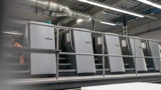 Technik fünf Drucker Heidelberg Speedmaster zum Bogendruck in Druckerei von Stern'sche